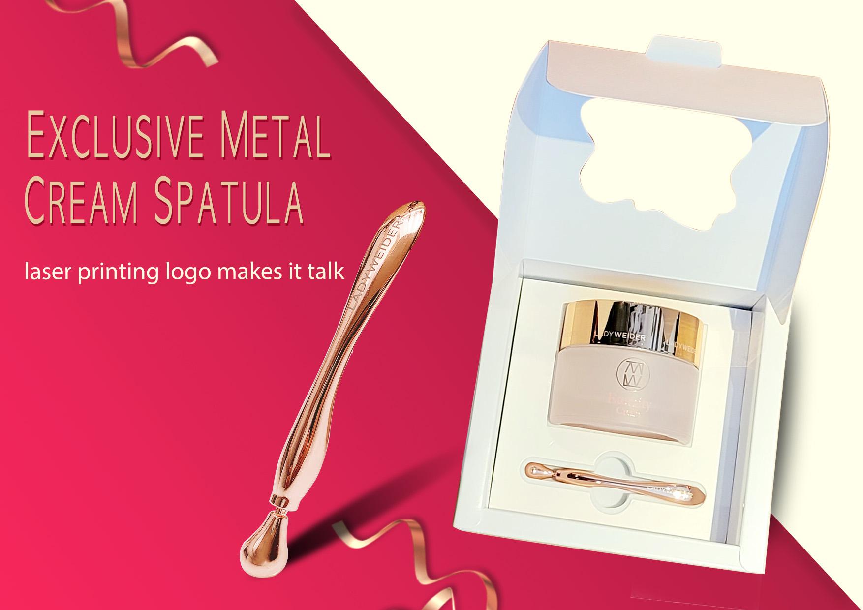 metal cosmetic spatula. spatula, cream jar, cream spatula