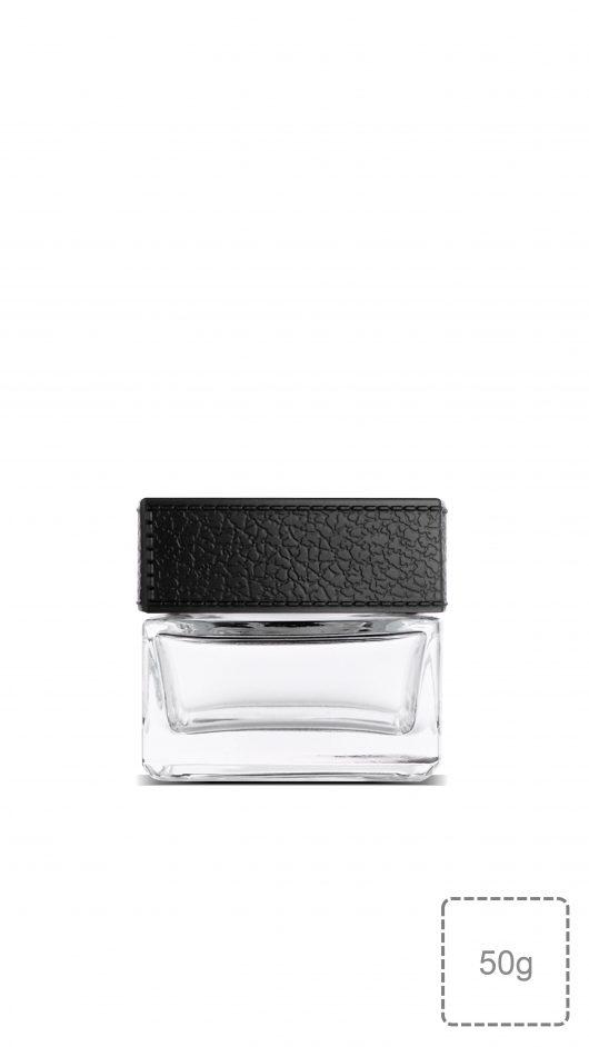glass jar, cream jar, Imitation leather over cap, unique design, luxury design