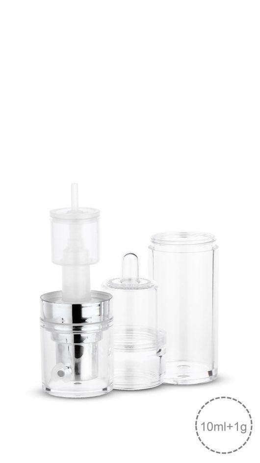 powder mixer bottle, liquid powder mix, skin care packaging, cosmetic packaging, dual bottle, chamber
