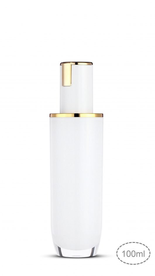 Acrylic bottle, luxury packaging, skin care packaging, metalized