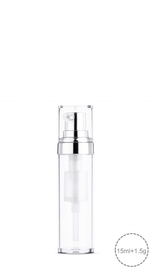 powder mixer bottle, liquid powder mix, skin care packaging, cosmetic packaging, dual bottle, chamber