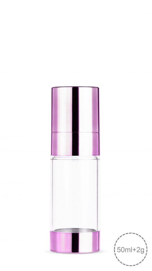 powder mixer bottle, liquid powder mix, skin care packaging, cosmetic packaging, dual bottle