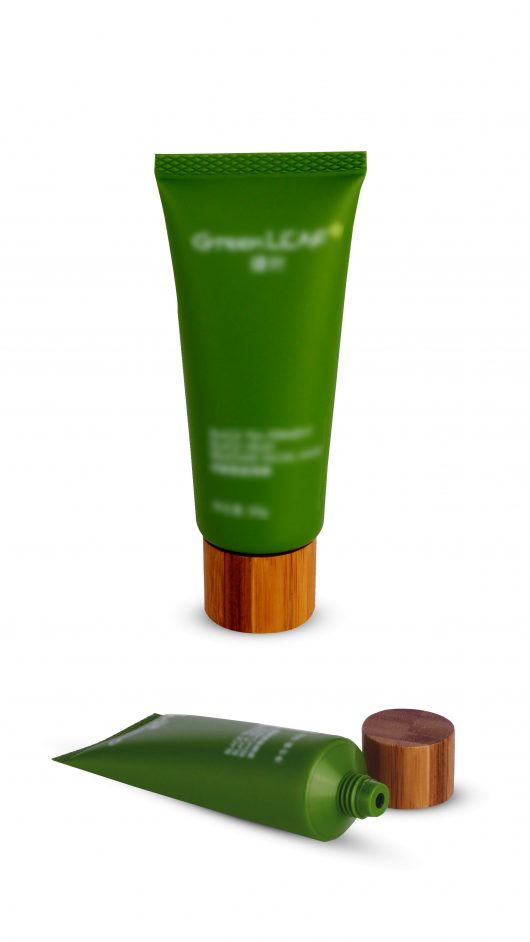 Plastic tube, cosmetic tube, eye cream applicator, wooden cap