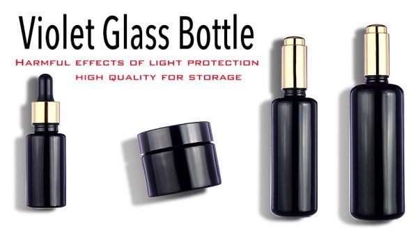 violet glass bottle, essential oil, luxury packaging